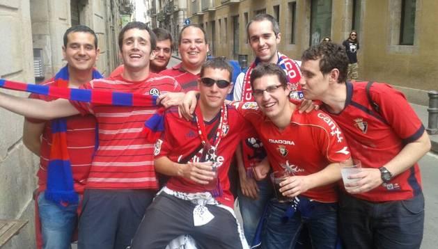 Aficionados rojillos, este domingo en Barcelona