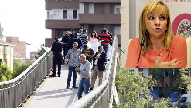 Efectivos de la policía junto al cadáver de la presidenta de la Diputación de León, Isabel Carrasco, en el lugar de los hechos. En la parte superior derecha, la fallecida