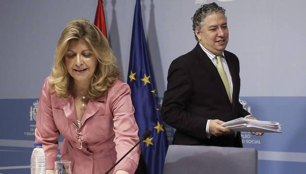 Los secretarios de Estado de Empleo y de Seguridad Social, Engracia Hidalgo y Tomás Burgos, presentan los datos del Servicio Público de Empleo Estatal