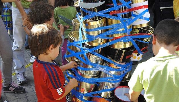 Protestas de comunidad educativa de Sarriguren en Pamplona