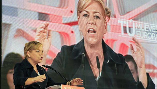 Elena Valenciano, durante su intervención en la Fiesta de la Rosa de los socialistas vascos