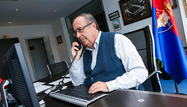 Ángel Luis Vizcay en el nuevo despacho en El Sadar.