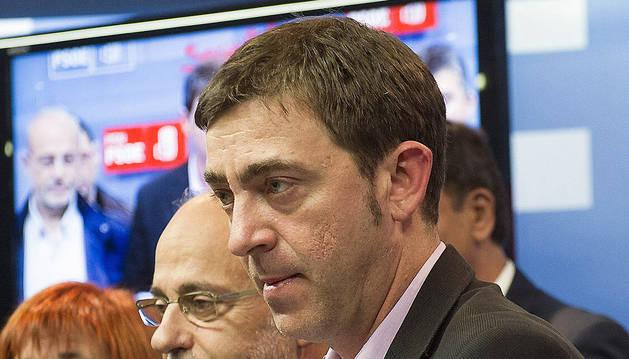 El secretario general del PSN, Roberto Jiménez, durante la rueda de prensa ofrecida este lunes.