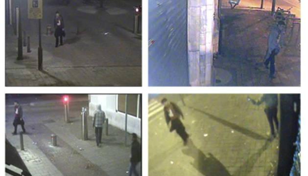 Combo de imágenes facilitada por la Fiscalía de Amberes de cámaras de vídeo de vigilancia que captaron a Hodei Egiluz.