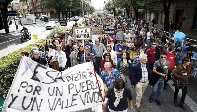 Un momento de la manifestación llevada a cabo en Pamplona