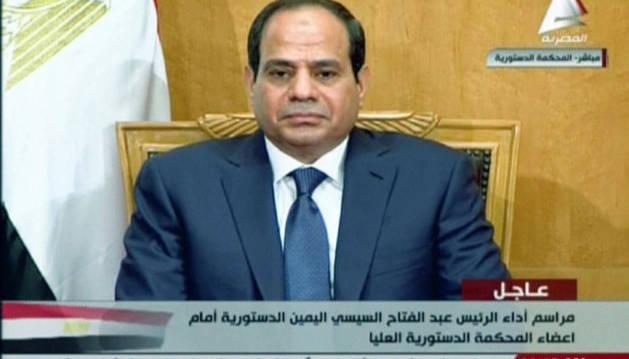 Al Sisi, durante la ceremonia, en una imagen de la televisión egipcia.