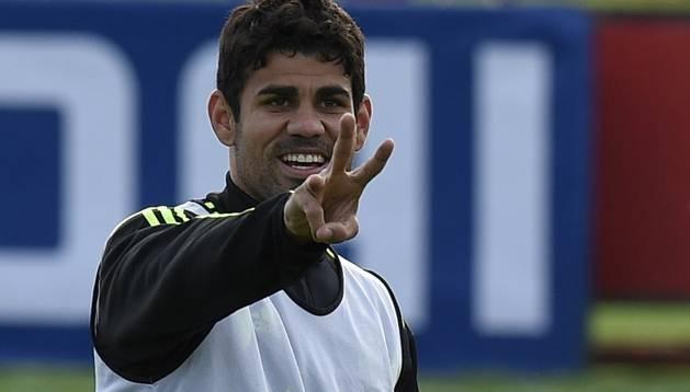 Diego Costa, durante un entrenamiento de España en Brasil