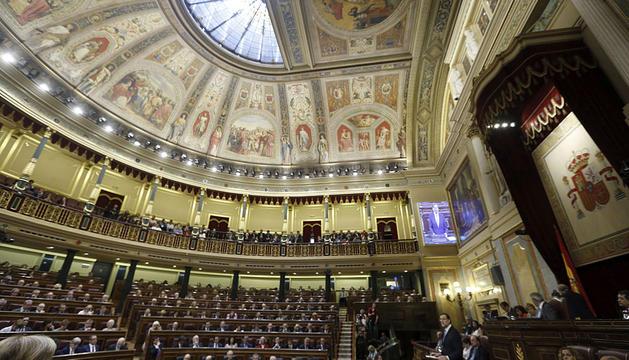 Rajoy interviene en el pleno del Congreso.