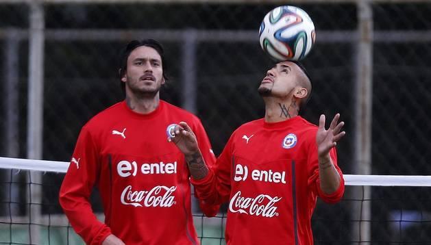 Arturo Vidal, entrenando con Chile
