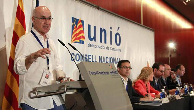 El líder de Unió, Josep Antoni Duran Lleida, durante su intervención en el Consell Nacional del partido