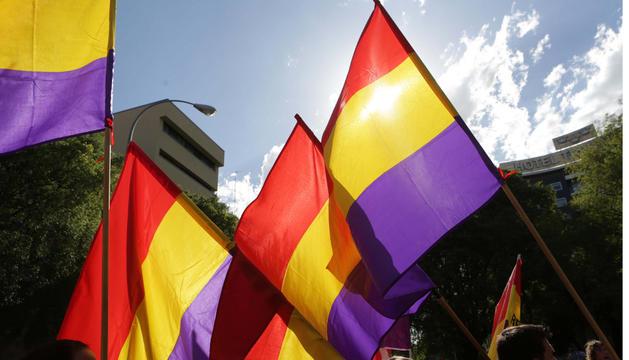 Banderas republicanas, durante la última marcha a favor de la República celebrada en Pamplona.