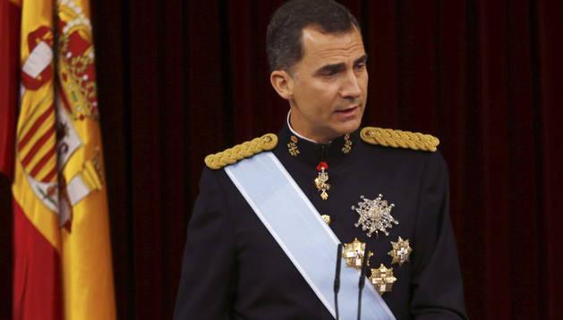 El rey Felipe VI, durante su primer discurso ante las Cortes Generales tras su proclamació