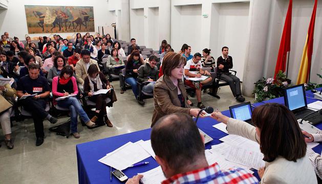 Profesores funcionarios sin destino definitivo durante la elección de plazas celebrada el año pasado.