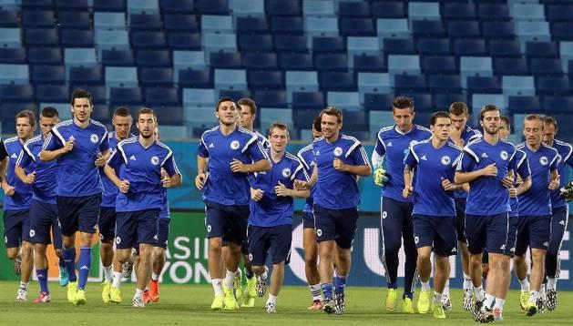 La selección de Bosnia, durante un entrenamiento