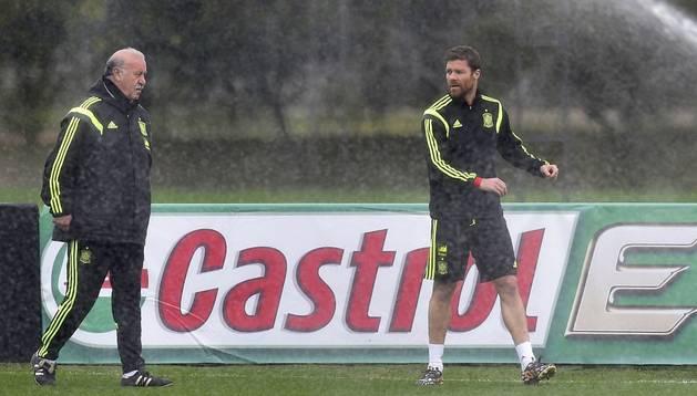 Xabi Alonso, junto a Del Bosque en un entrenamiento