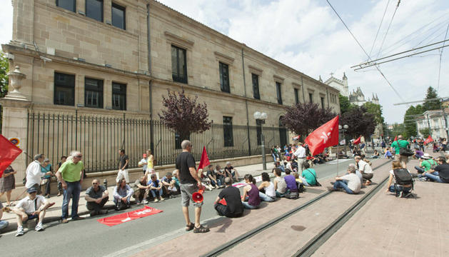 La protesta en Vitoria, este sábado