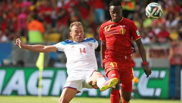 Origi, autor del gol de Bélgica, en el partido contra Rusia