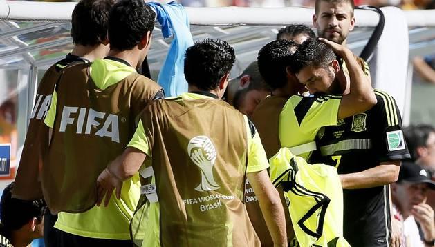 David Villa, en el partido contra Australia