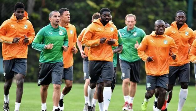 Kolo Toure, durante un entrenamiento de Costa de Marfil
