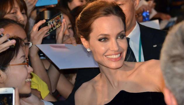 Angelina Jolie en la presentación de 'Maléfica' en Tokio