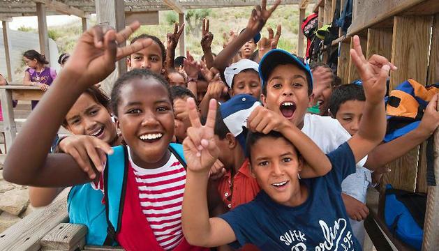 Niños saharauis en el parque de Senda Viva el año pasado