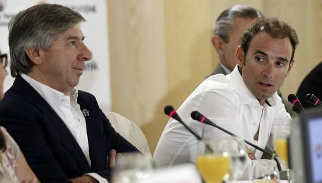 Alejandro Valverde y Eusebio Unzué, en rueda de prensa