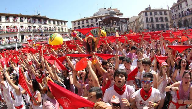 Imagen del cohete de las fiestas de Tudela del año pasado