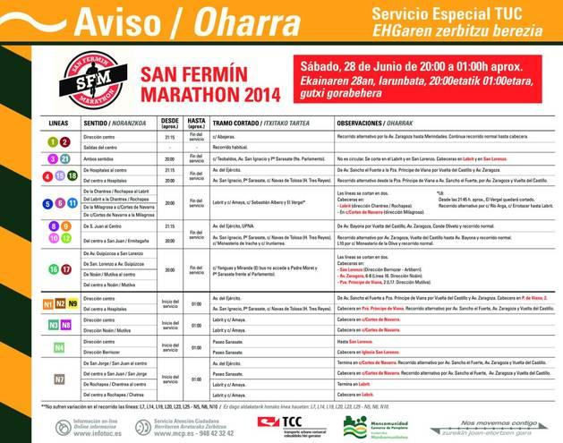 Modificaciones del transporte urbano para la San Fermín Marathon