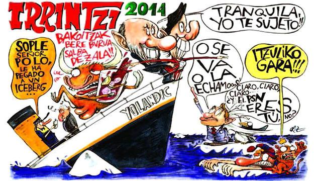 Imagen de la pancarta de la peña Irrintzi