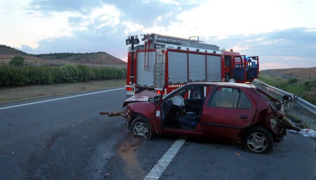Imagen del accidente en la AP-68.