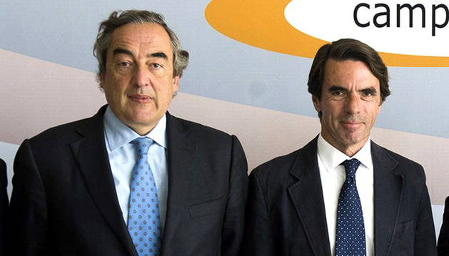 Juan Rosell, presidente de la CEOE, y Jose María Aznar, presidente de FAES