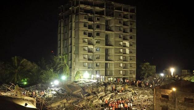 El edificio derrumbado