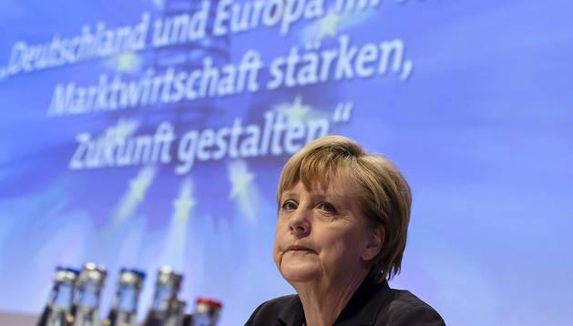 La cancillerr alemana, Angela Merkel, durante el Congreso Económico del CDU