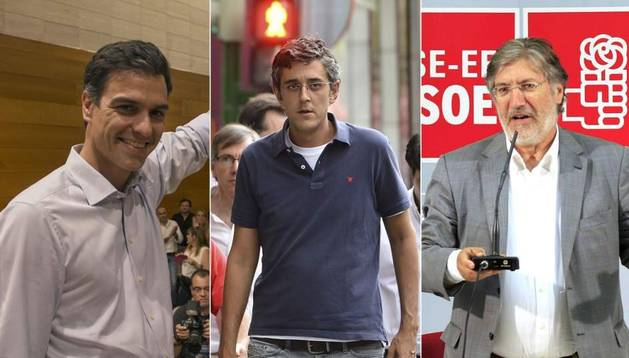 Los tres candidatos oficiales que optan a secretario general del PSOE: Pedro Sánchez, Eduardo Madina y José Antonio Pérez Tapias.