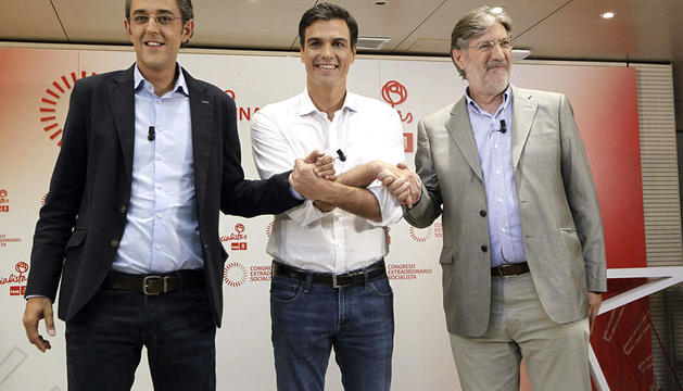 Pedro Sánchez, Eduardo Madina y Pérez Tapias.