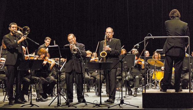 Una de las actuaciones, la protagonizada por la Yerri Jazz Band y la Orquesta Sinfónica de Navarra