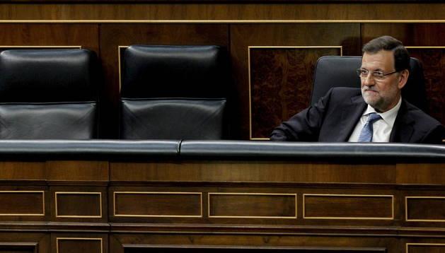 El presidente del Ejecutivo, Mariano Rajoy, durante la sesión de control al Ejecutivo.