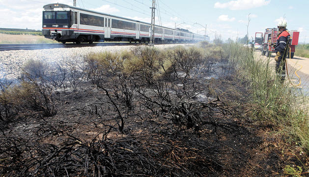Un tren circula por la vía a su paso por Tudela junto a una franja de vegetación quemada donde se encuentra trabajando un bombero.
