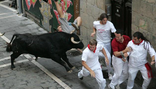 El último encierro de los Jandilla, el día 14 de 2010, se saldó con cuatro corneados