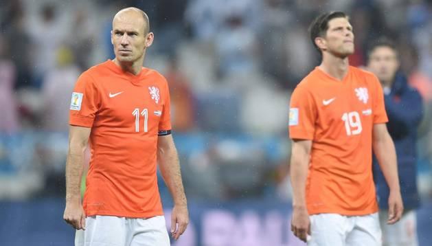 Robben y Huntelaar, durante el choque ante Argentina