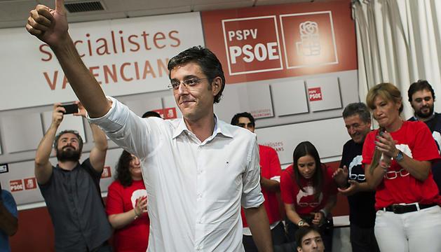 Eduardo Madina, en la sede del PSOE de Valencia.