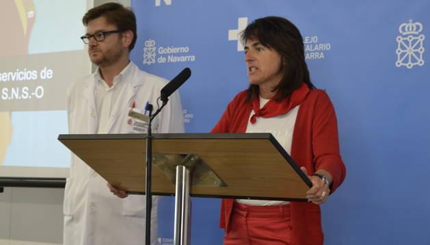 Un momento durante la rueda de prensa de este lunes en las nuevas urgencias hospitalarias, en la que se ha ofrecido el balance médico de estos Sanfermines