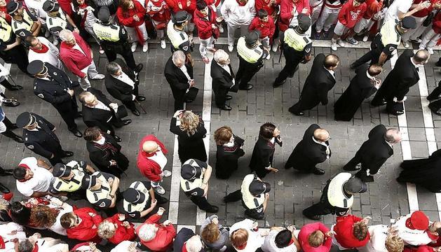 La corporación municipal, durante la procesión del día 7