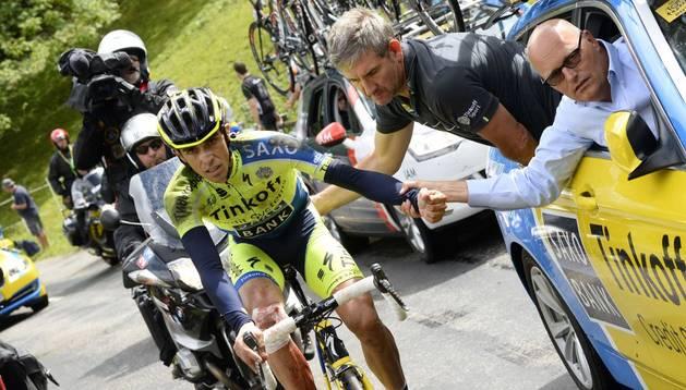 Alberto Contador, justo antes de retirarse del Tour