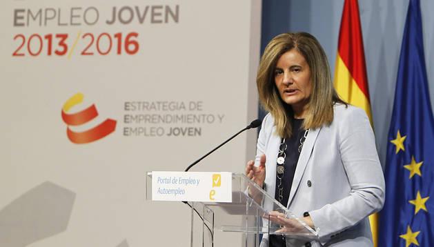 La ministra de Empleo, Fátima Báñez, durante la presentación del nuevo Portal de Empleo y Autoempleo en la sede del Ministerio