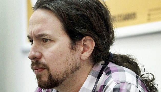 El líder de Podemos, Pablo Iglesias, durante un desayuno informativo organizado por Ediciones Turpial
