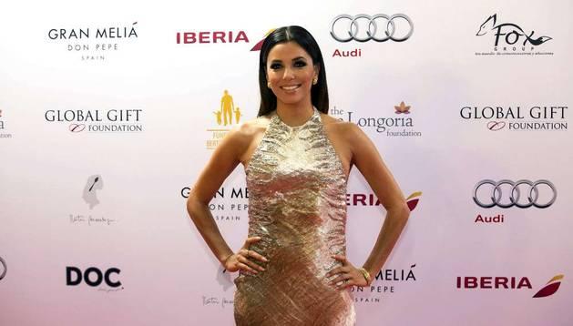 Eva Longoria a su llegada a la gala benéfica de la Fundación Global Gift en Marbella