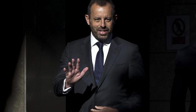 El expresidente del Barcelona Sandro Rosell, a su llegada esta mañana a la Audiencia Nacional