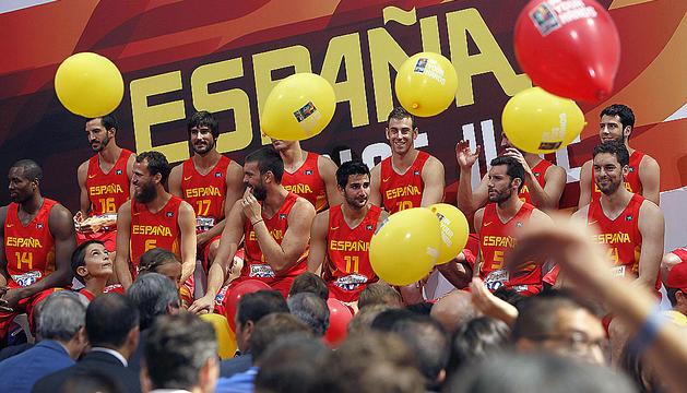 Los jugadores internacionales, durante el acto de presentación de la selección española de Baloncesto que participará en el próximo Campeonato del Mundo
