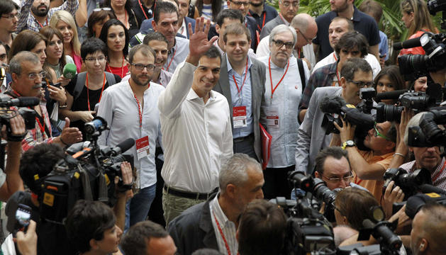 Pedro Sánchez, a su llegada al Congreso